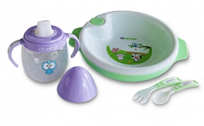 Baby Weaning Set (Warm Plate, Trainer Cup, Fork & Spoon)